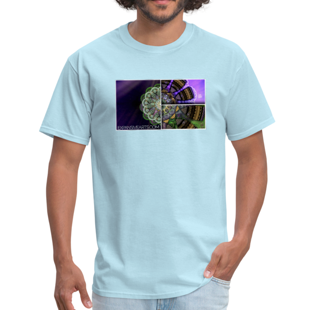 Mesmerizing Fractal Mandala Thrice Divided Graphic T-Shirt - powder blue