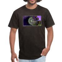 Mesmerizing Fractal Mandala Thrice Divided Graphic T-Shirt - mineral black