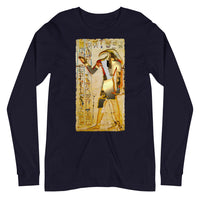 Ancient Egyptian God Thoth Golden Hieroglyphic Premium Long Sleeve Unisex Shirt