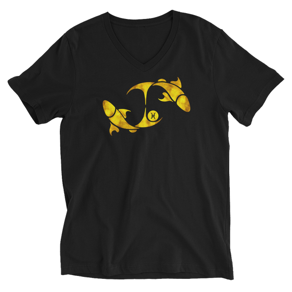 Black & Gold Piscean Zodiac V-Neck T-Shirt