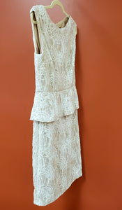 Frank Lyman Size 10 White/Taupe Sleeveless Formal Dress