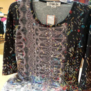 Fresh fx Size S Dark Gray Print Tunic