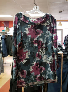 Cleo Size M PETIT Gray/Plum/Teal Floral Top - Like New