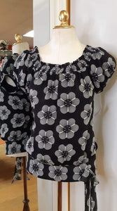 Silk Floral Blouse - Size S
