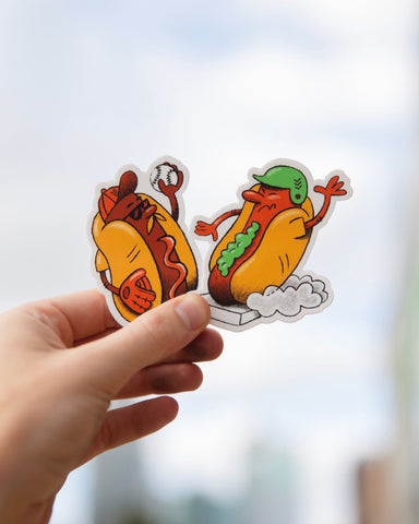 Ketchup Relish Baseball Stickers