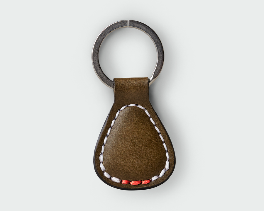 Classic Leather Key Fob - Olive