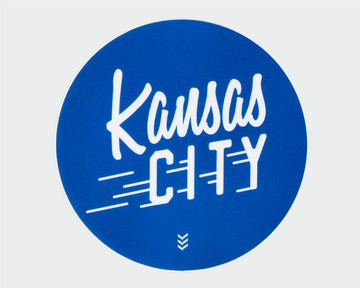 Kansas City Flyer Sticker - Royals Blue and White