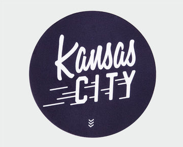 Kansas City Flyer Sticker - Navy and White