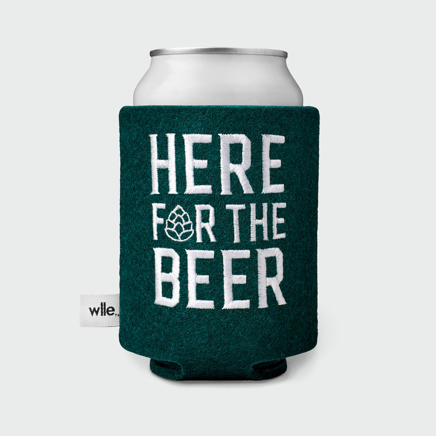 wlle™ Drink Sweater - Here for the Beer - Hunter Green and White