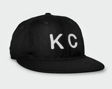 Black Vintage Flatbill Hat - White KC
