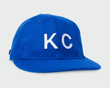 Electric Blue Vintage Flatbill Hat - White KC