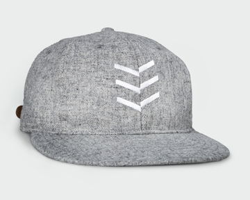 Heather Grey Vintage Flatbill Hat - White Triple Stitch