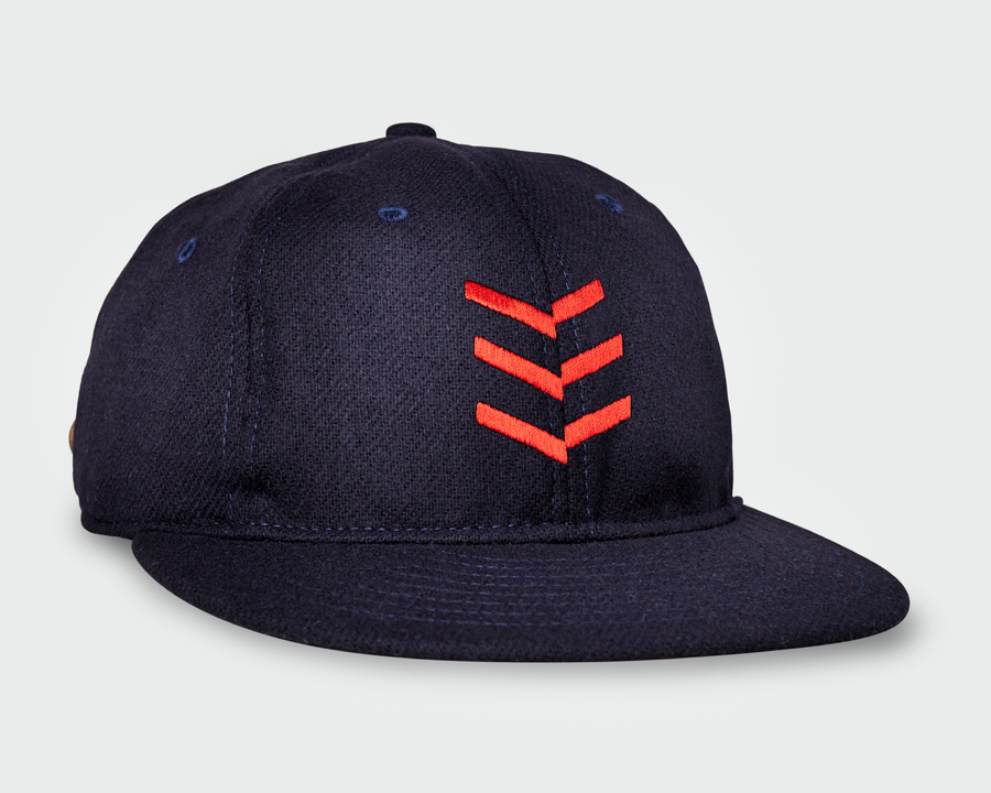 Navy Vintage Flatbill Hat - Red Triple Stitch