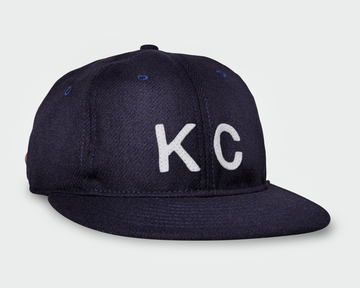 Navy Vintage Flatbill Hat - White KC