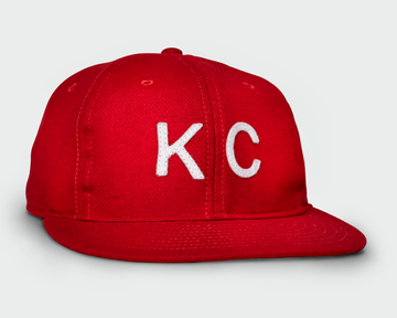 Red Vintage Flatbill Hat - White KC