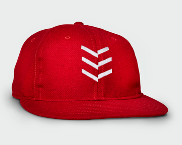 Red Vintage Flatbill Hat - White Triple Stitch