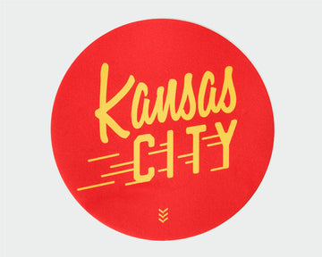 Kansas City Flyer Sticker - Red and Gold