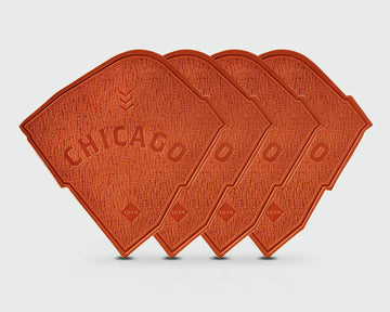 A set of 4 of Sandlot Goods Chicago Ballpark Leather Coasters