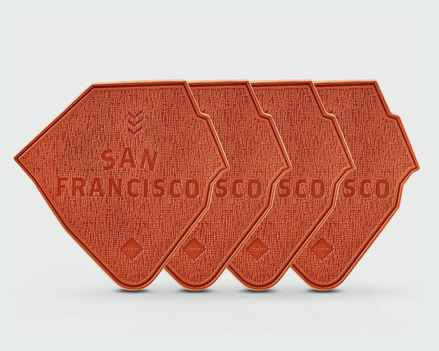 A set of 4 of Sandlot Goods San Francisco Ballpark Leather Coasters