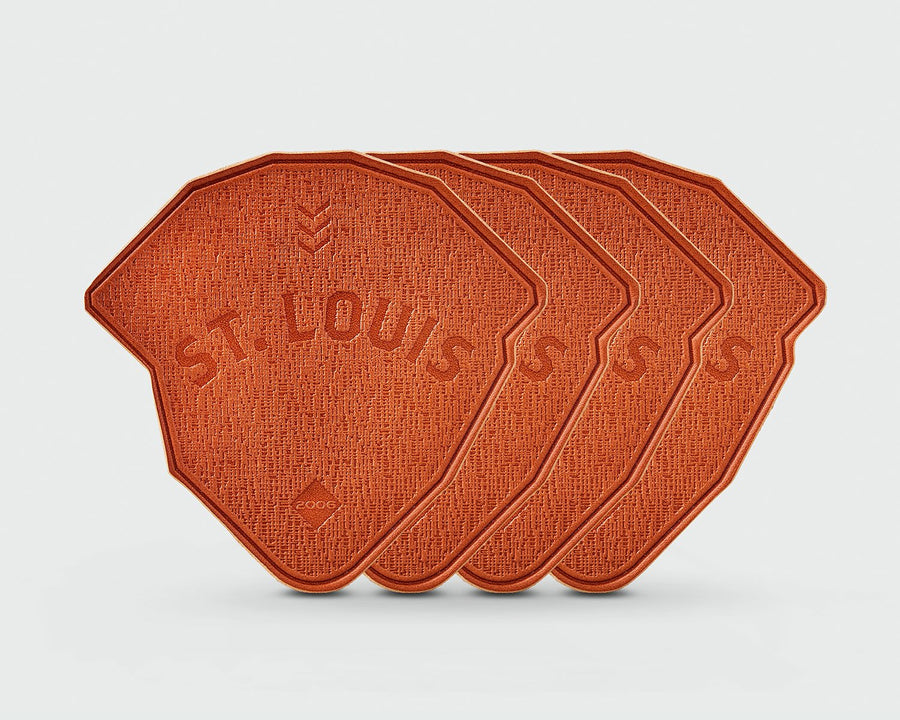 A set of 4 of Sandlot Goods Saint Louis Ballpark Leather Coasters
