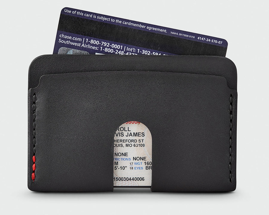 The back of Sandlot Goods Monarch leather wallet in black
