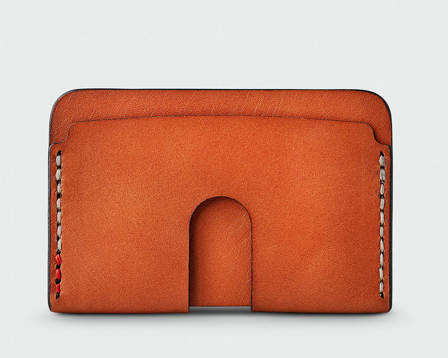The back of Sandlot Goods Monarch leather wallet in tan