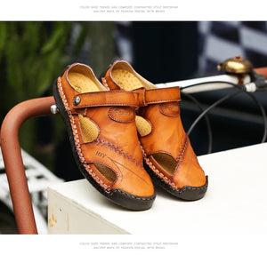Menico™: Men Hand Stitching Hollow Out Leather Sandals