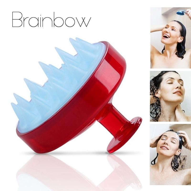 Brainbow 1 piece Shampoo Comb Silicone Teeth Hair Scalp Soft Massage Brush Hair Washing Comb Body Bath Massager Beauty Spa Tools