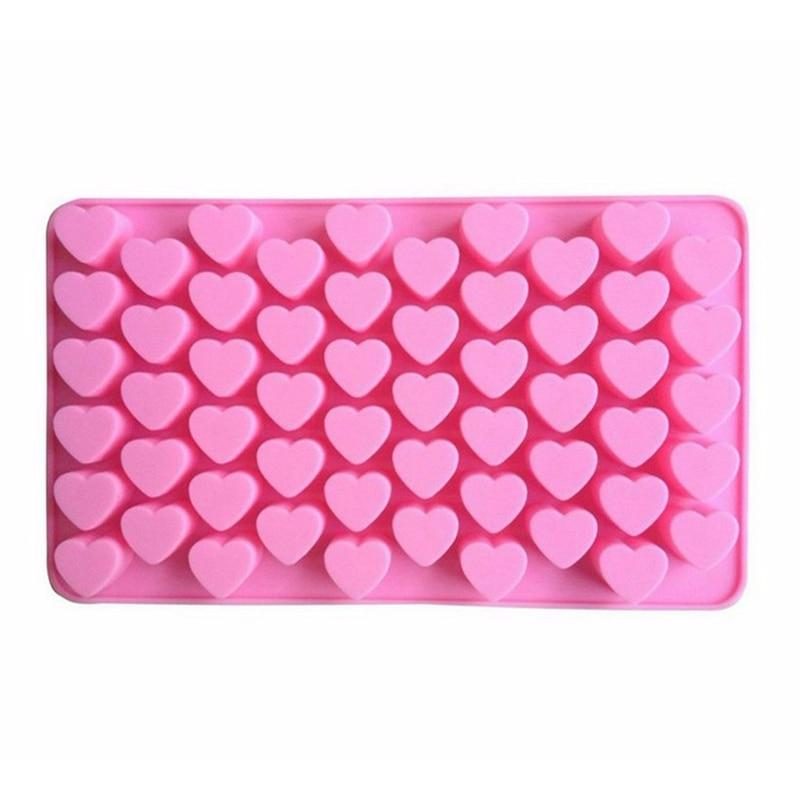 Kitchen Baking Tools 55 Holes Cute Heart Style Silicone Chocolate Mold Ice Candy Lolly Muffin Mould Valentine Gift Maker D0136