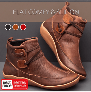 Cozy Flat-Bottomed Arch Support Lace-Up Boots