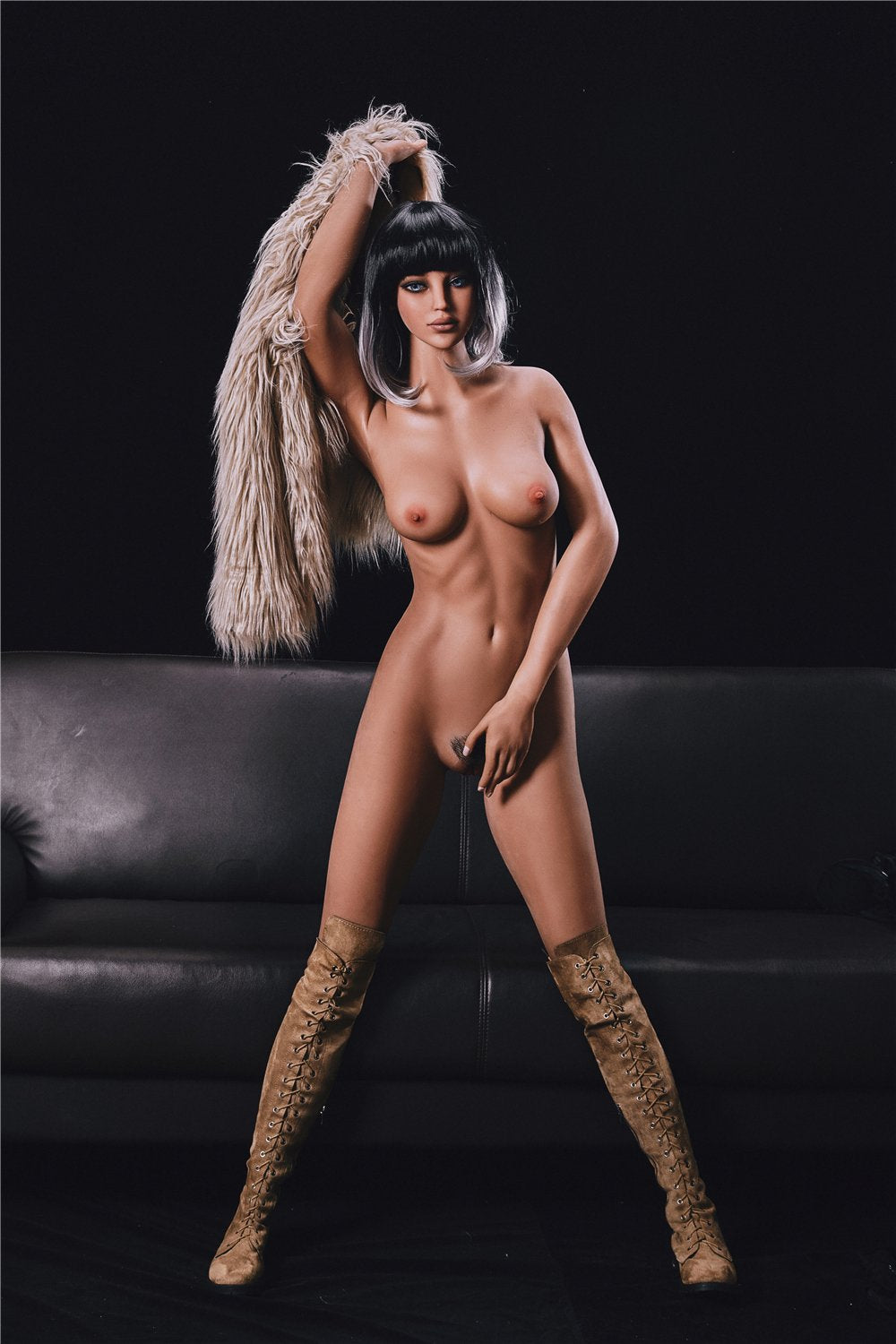 alanna 168cm black hair brown medium tits athletic flat chested tpe sex doll(3)