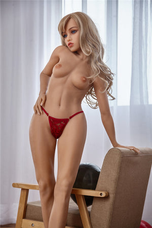 jackie 150cm blonde athletic flat chested tan skin tpe sex doll(2)