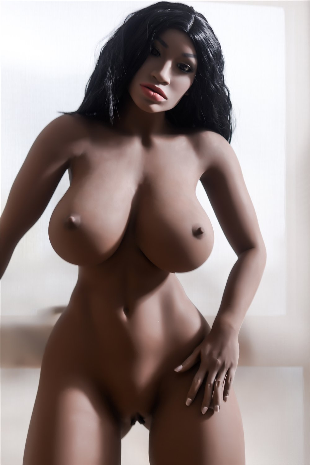 adele 158cm dark skin tone black hair curvy big boobs best tpe sex doll(7)