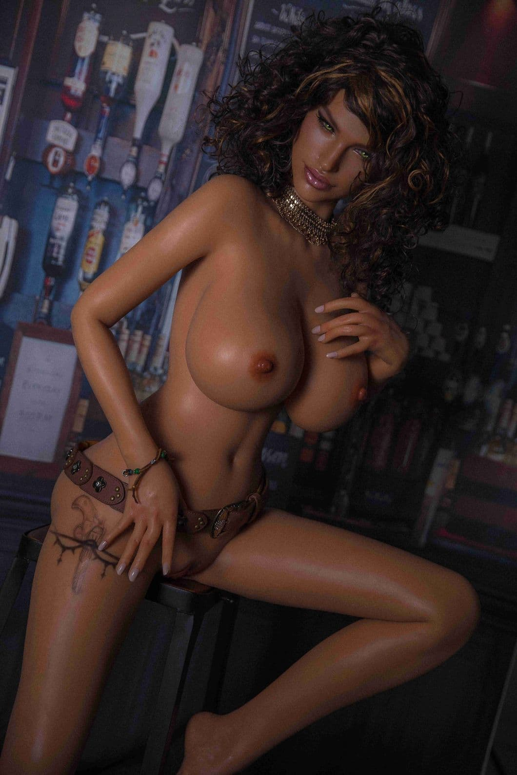 glenne 159cm 5ft3 brown hair big boobs athletic silicone tan skin sex doll(7)