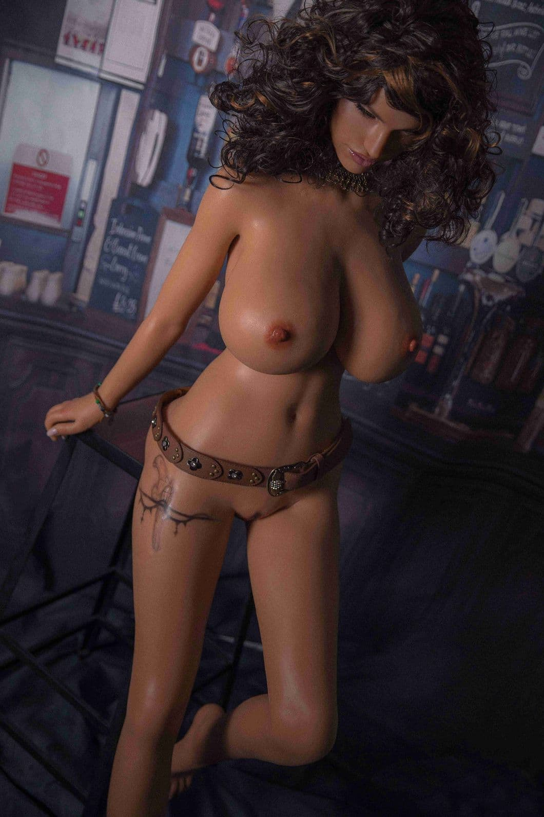 glenne 159cm 5ft3 brown hair big boobs athletic silicone tan skin sex doll(8)