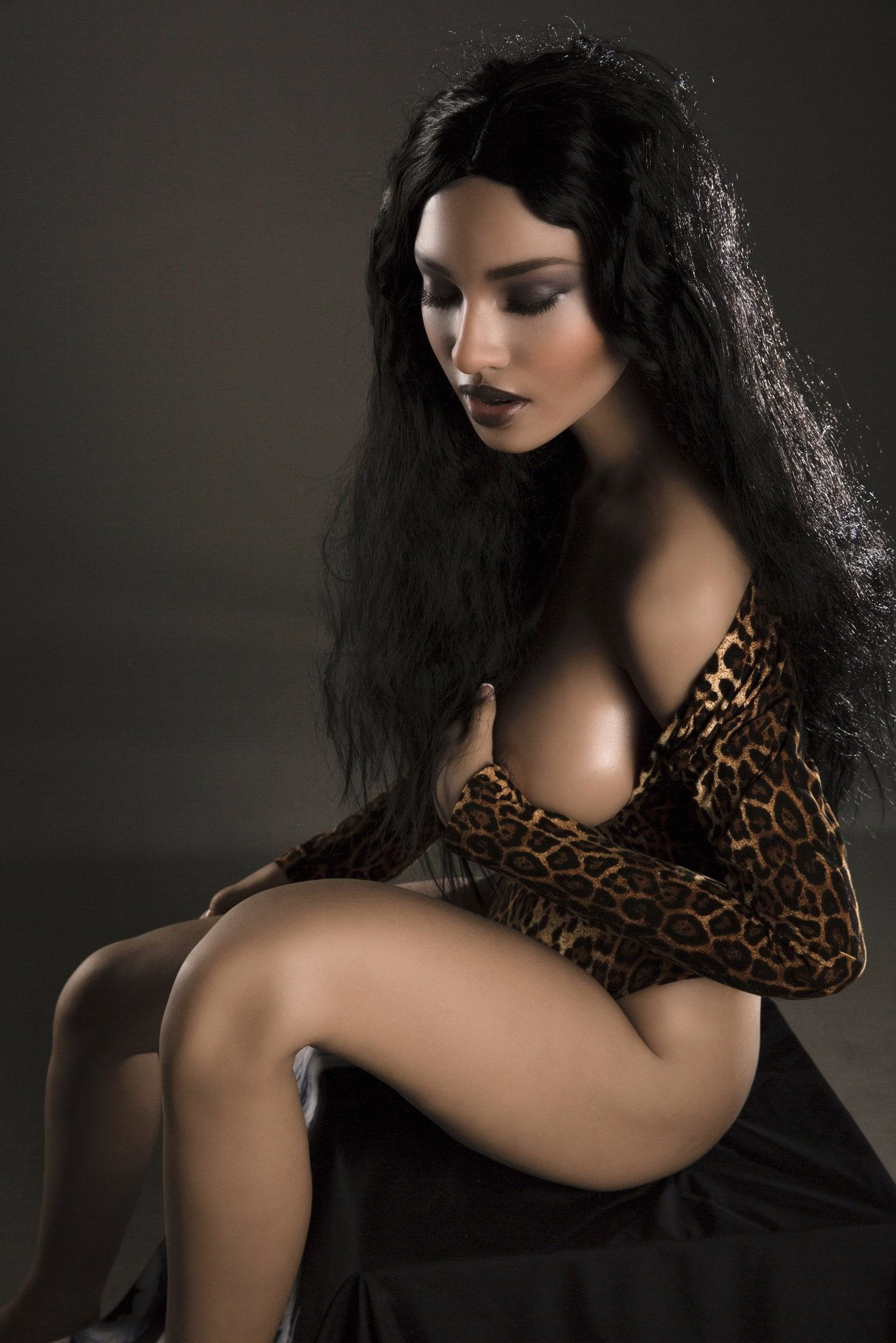 kaaren 161cm black hair brown medium tits athletic silicone sex doll(3)