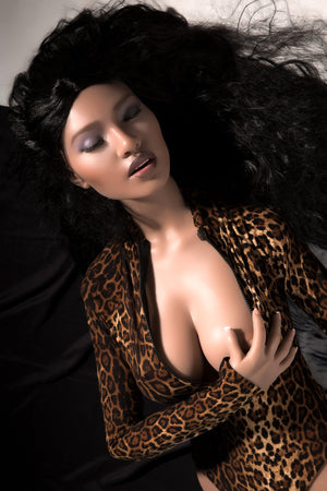 kaaren 161cm black hair brown medium tits athletic silicone sex doll(7)