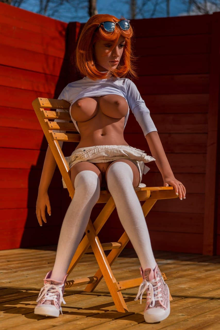 rose 140cm medium tits skinny red hair tan skin tpe wm small sex doll(9)