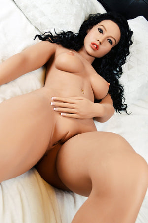 sonia 156cm black hair curvy skinny flat chested tan skin tpe wm sex doll(6)