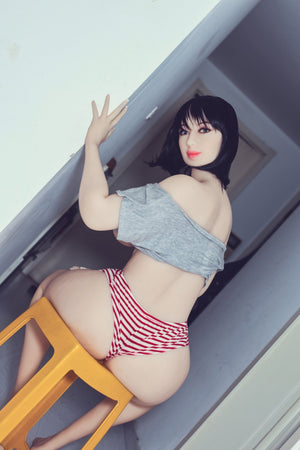 shar 163cm black hair curvy big boobs tpe wm bbw sex doll(2)