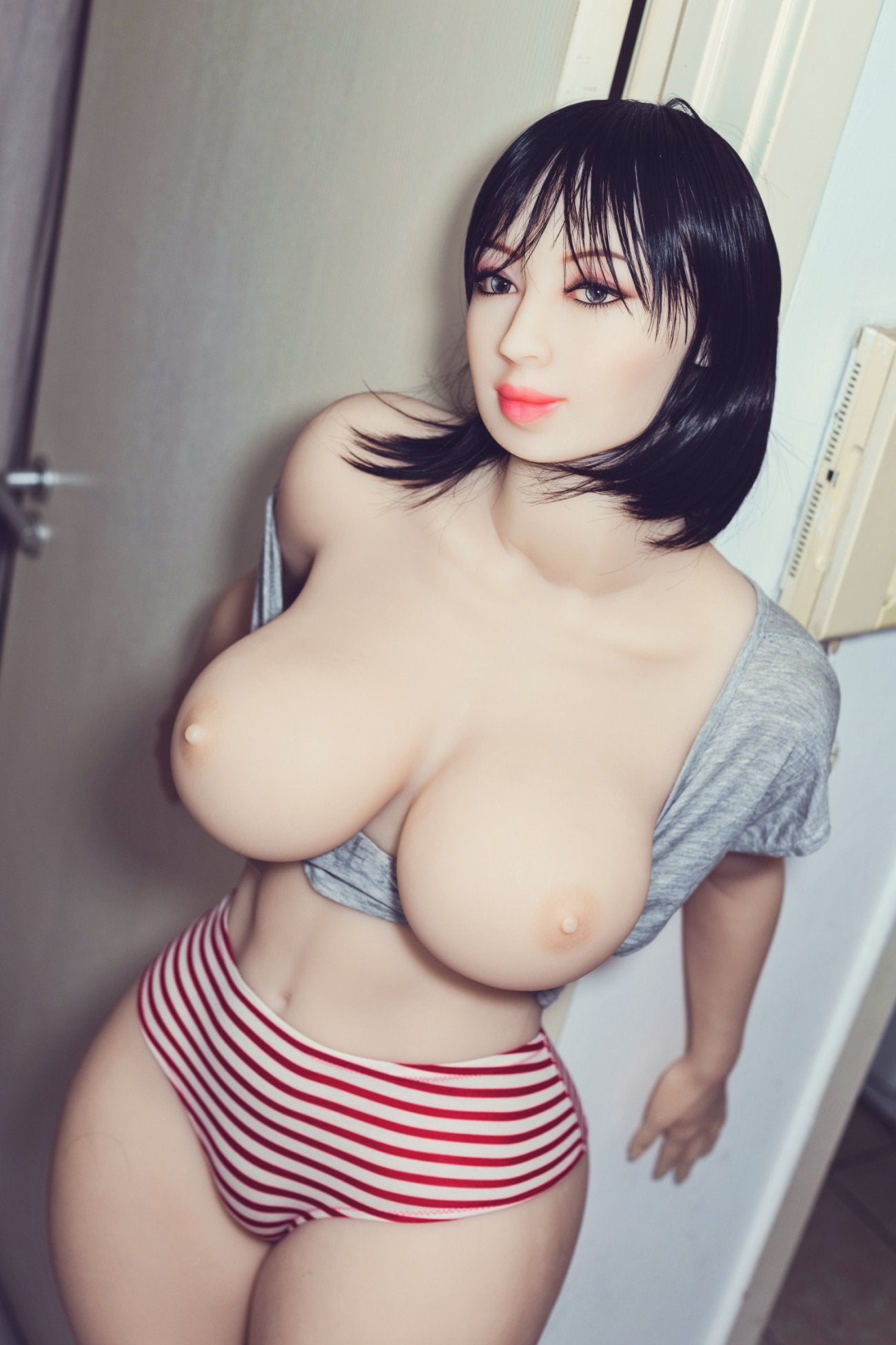 shar 163cm black hair curvy big boobs tpe wm bbw sex doll(4)