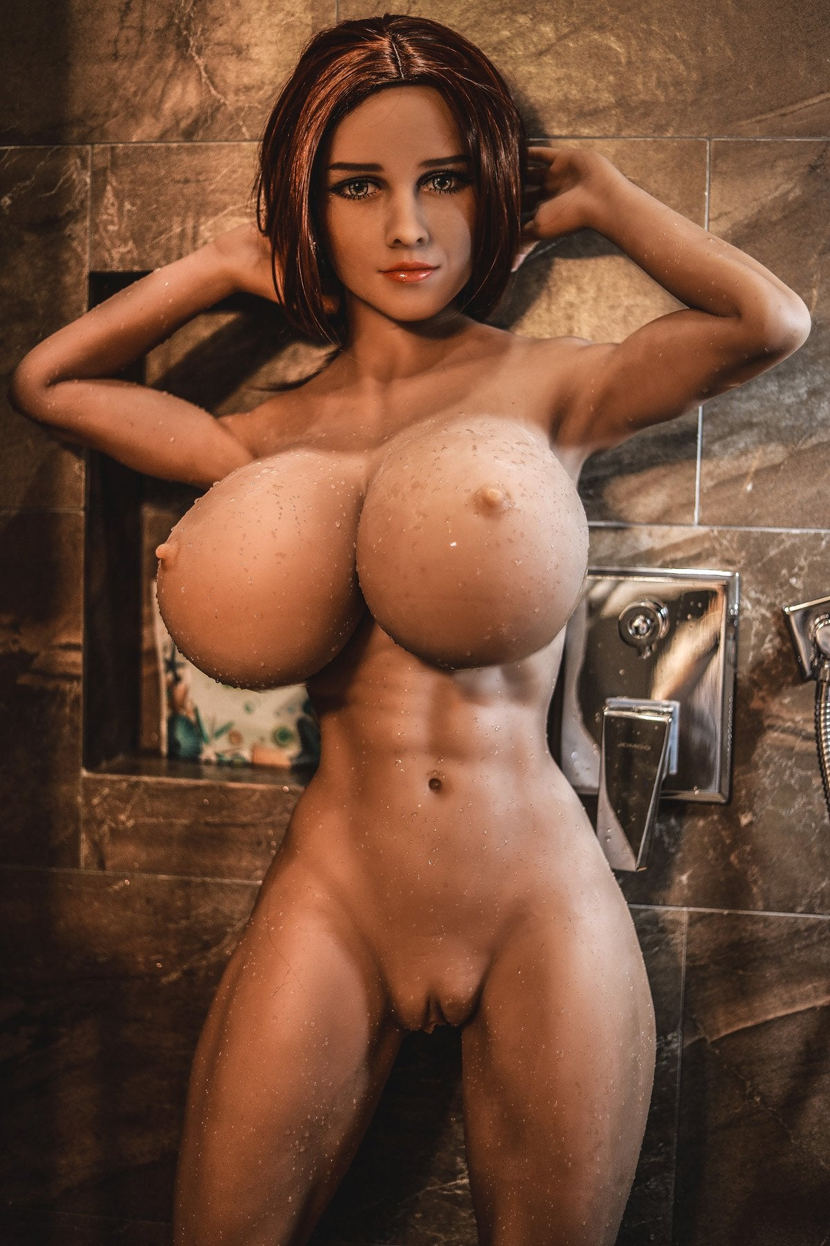 pearly 150cm brown hair curvy giant massive tits jy tan skin tpe sex doll(11)