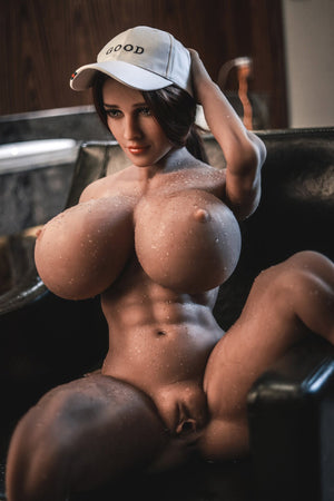 pearly 150cm brown hair curvy giant massive tits jy tan skin tpe sex doll(12)