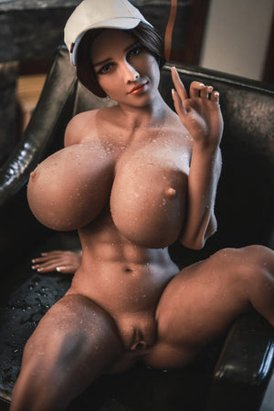 pearly 150cm brown hair curvy giant massive tits jy tan skin tpe sex doll(13)
