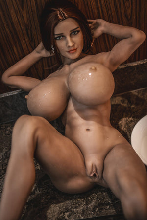 pearly 150cm brown hair curvy giant massive tits jy tan skin tpe sex doll(14)