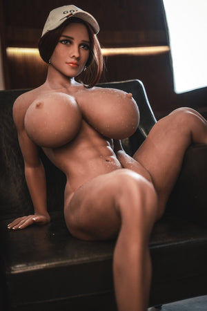 pearly 150cm brown hair curvy giant massive tits jy tan skin tpe sex doll(5)