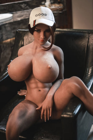 pearly 150cm brown hair curvy giant massive tits jy tan skin tpe sex doll(6)