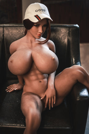 pearly 150cm brown hair curvy giant massive tits jy tan skin tpe sex doll(7)