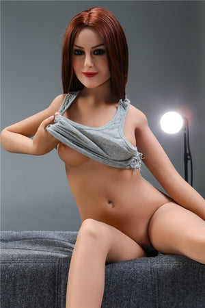 sharon 155cm skinny red hair flat chested tpe sex doll(3)
