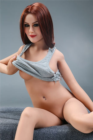 sharon 155cm skinny red hair flat chested tpe sex doll(4)